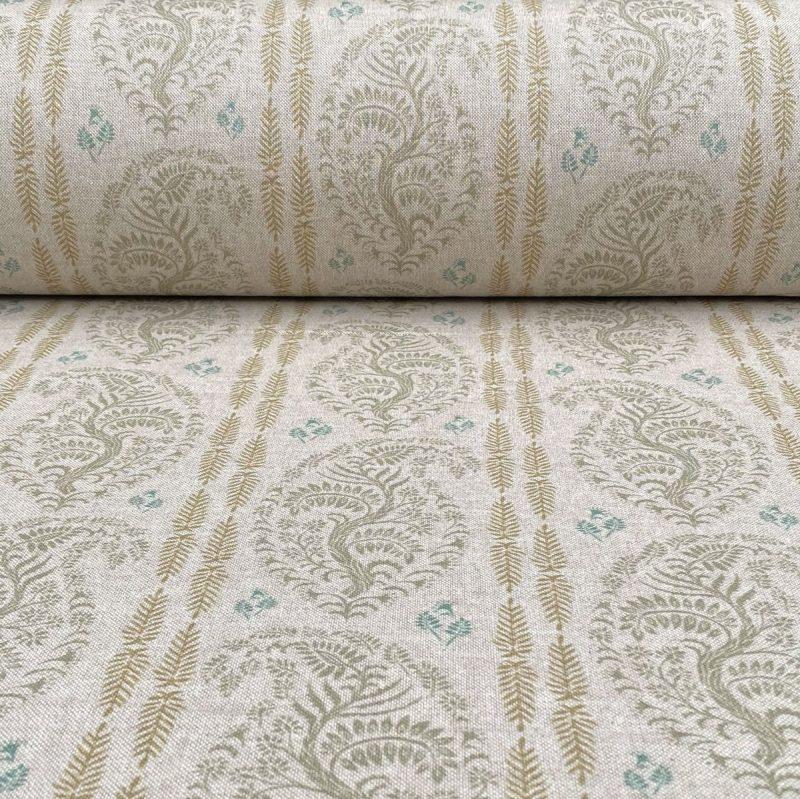 Larisa Stripe - Sage Green and Soft Gold on Natural