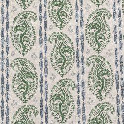 Larisa Stripe - Leaf Green and Indigo on Natural
