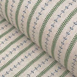 Maya Stripe - Leaf Green and Indigo on Natural
