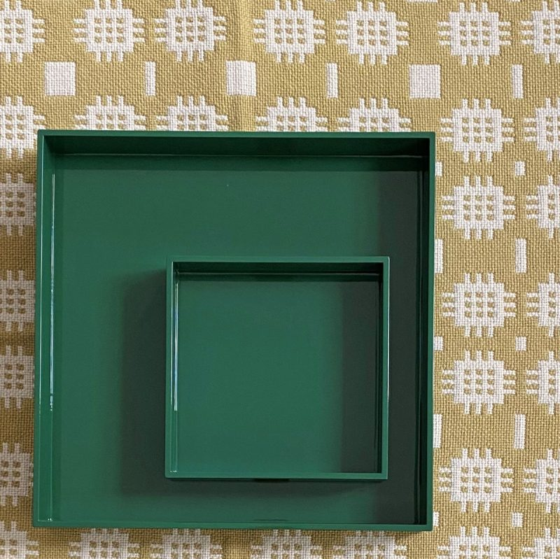 Large Square Lacquer Tray - Forest Green