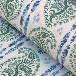 Larisa Stripe - Leaf Green and Indigo on Ivory