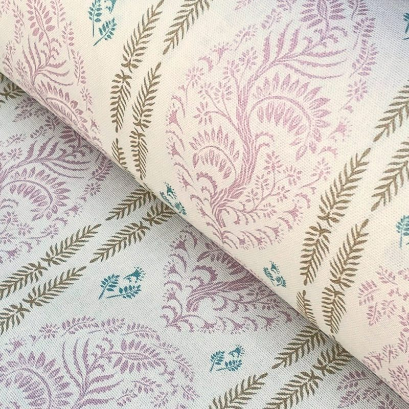 Larisa Stripe - Pink and Soft Gold on Ivory