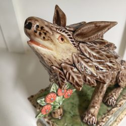 Paul Young Howling Wolf Ceramic piece Tinsmiths