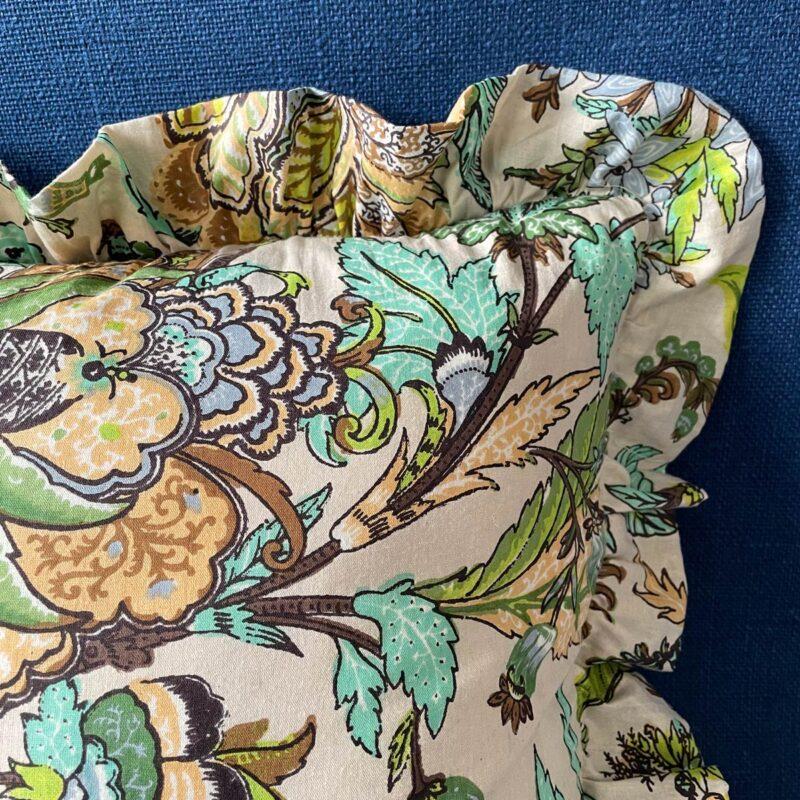 Block Print Ruffle Cushion - Green