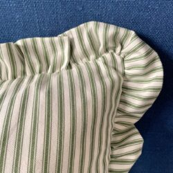 Ticking Ruffle Cushion - Green