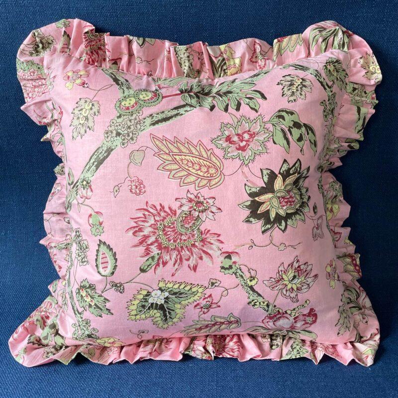 Block Print Ruffle Cushion - Pink