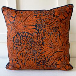 Morris Marigold Navy Orange Cushion Tinsmiths
