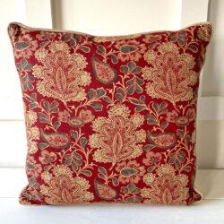 Chalvington Red print cushion Tinsmiths