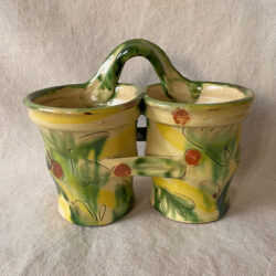 French Country Pottery Double Utensil Holder - FCPBRB