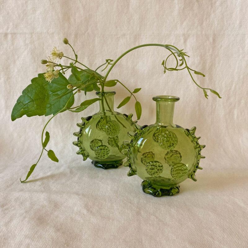Small Flat Green Glass Bottle