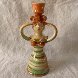 Burgundy Pottery Lucie Candlestick - FCPSLUC8